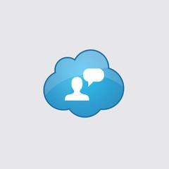 Blue cloud conversation icon.