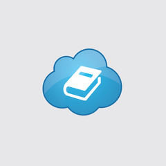 Blue cloud book icon.