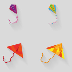 Set Of Different Kites Isolated On Background