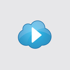 Blue cloud play icon.