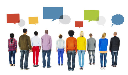 Rear View of Diverse People and Speech Bubble