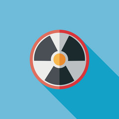Radiation flat icon with long shadow