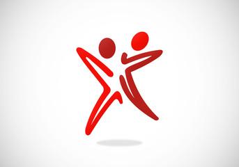 couple partner star abstract vector logo