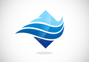 wave air flow abstract vector logo