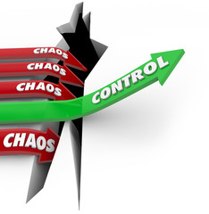 Control Vs Chaos Order Beats DIsorder Words Arrow Rising Over Pr