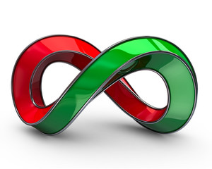 Red and green infinity symbol