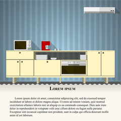 Flat vector illustration of kitchen with blue wall