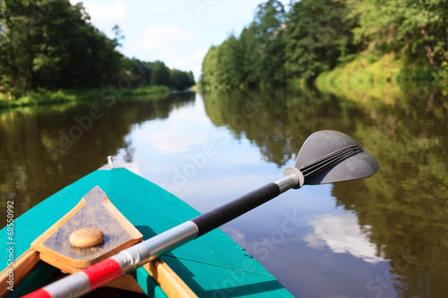 canvas print picture kayak on a small river
