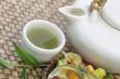 Green Tea Pot And Fruit Tart