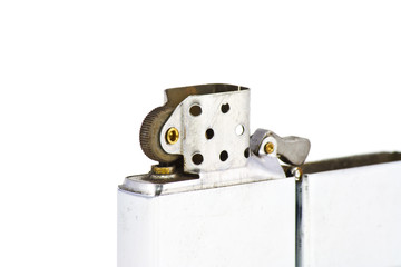 Silver metal zippo lighter isolated on white background