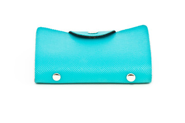 blue leather business card holder leather
