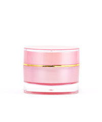 Pink cream container on white background