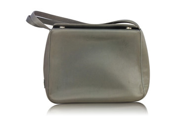 old black leather women bag on white background