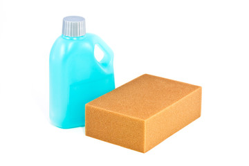 Cleaning product, Blue plastic bottle and sponge on white backgr