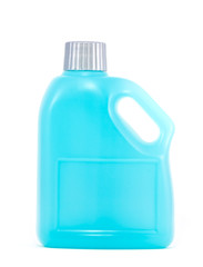 Cleaning product, Blue plastic bottle on white background
