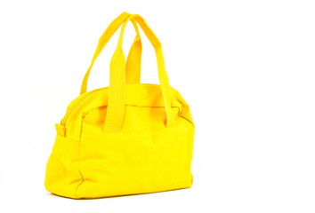 yellow cotton bag on white background