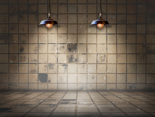 Dirty tile room with lamp