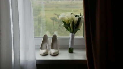 Wedding Composition, Rings, Bride Shoes