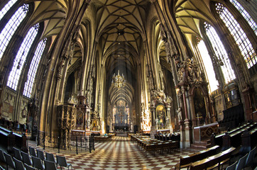 Inside saint Stephen's cathedral at downtown of Vienna