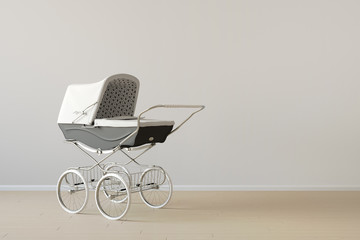 Vintage baby buggy with copy space