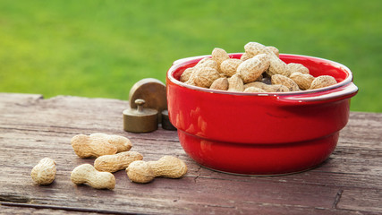 Peanuts on wooden table in the backyard