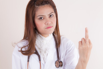 Medical rude sign | Doctor giving middle finger gesture