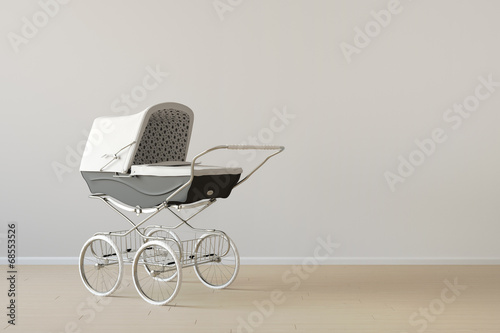canvas print picture Vintage baby buggy with copy space
