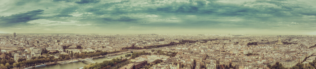 Paris aerial view panorama in fall scenery