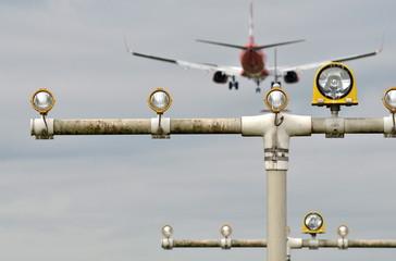 Flughafen Landefeuer Landung