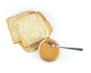 peanut butter sandwich on white background