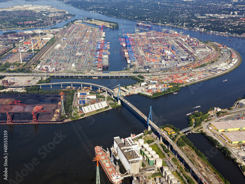 canvas print picture Hamburg, Köhlbrandbrücke und Containerhafen