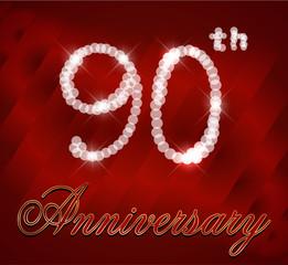 90 year happy birthday sparkles card, 90th anniversary