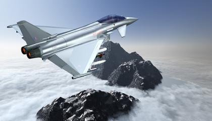 Europäische Militärjet über den Wolken