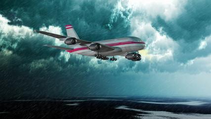Verkehrsflugzeug im Landeanflug bei Starkregen