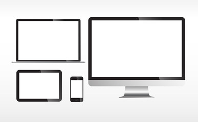 Blank Electronic Screens Isolated on white