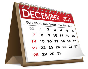 December 2014 Calendar Isolated on White
