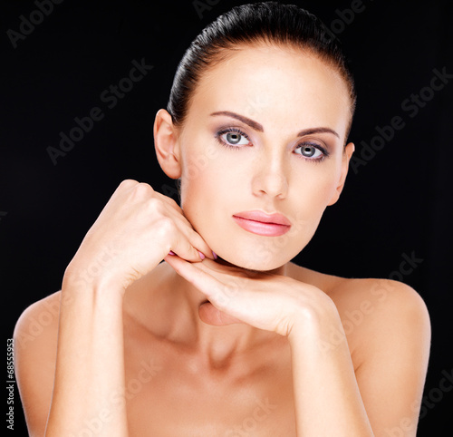 canvas print picture Beautiful   face of the adult woman with fresh skin