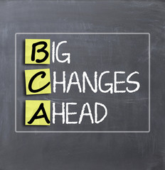 Big changes ahead concept text on blackboard
