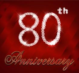 80 year happy birthday card, 80th anniversary sparkles