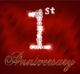 1 year happy birthday card, 1st anniversary sparkles