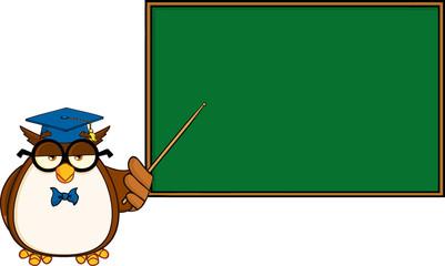 Wise Owl Teacher Character In Front Of School Chalk Board