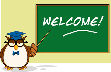 Wise Owl Teacher In Front Of School Chalk Board With Text