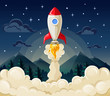 Start up space rocket ship in flat style