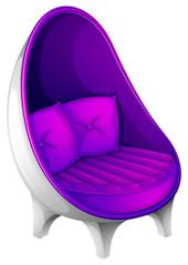 A lavender chair with throw pillows