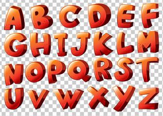 Alphabet artwork in orange color