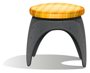 A grey chair with a round foam