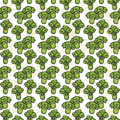 Vector seamless pattern of sketch broccoli. Illustration.