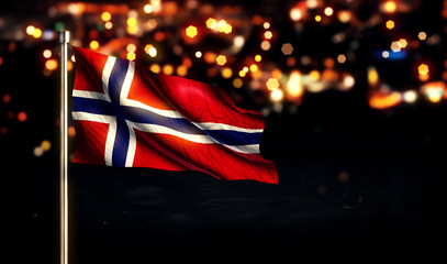 Norway Flag City Light Night Bokeh Background 3D