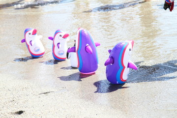 inflatables on the shore,summer