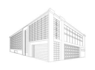 Wireframe modern building,Architecture background